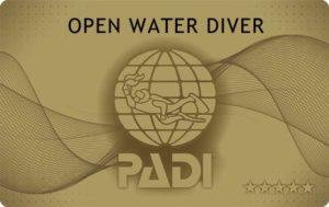 PADI オープンウォータダイバー ライセンスカード